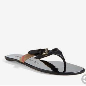 Burberry Masie Black leather sandal/ flip flop